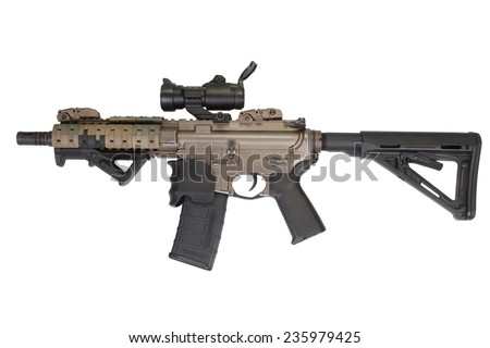 M4 special forces rifle isolated on a white background - stock photo