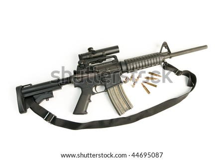 M16 Style Assault Rifle with Scope & Bullets on White - stock photo