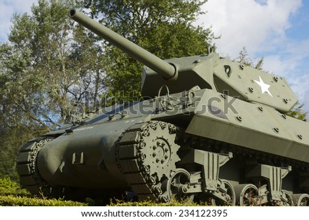 M-10 tank in the memorial museum of the Battle of Normandy, Bayeux, Normandy, France. - stock photo