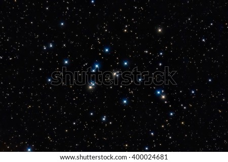 M44, the Beehive Cluster. Colorful stars in the night sky