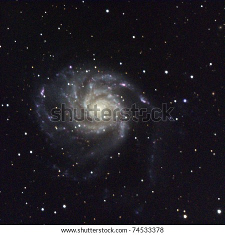 M101, The Pinwheel Galaxy, 25 million light years away in Ursa Major. It is rougly twice the size of our Milky Way galaxy, 170,000 light years across - stock photo