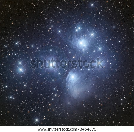 M45 The Pleiads open cluster in Taurus - stock photo