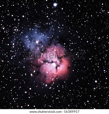 M20, the Trifid Nebula in Sagittarius - stock photo