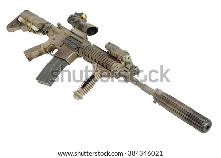 M4 with suppressor - special forces rifle isolated on a white background - stock photo