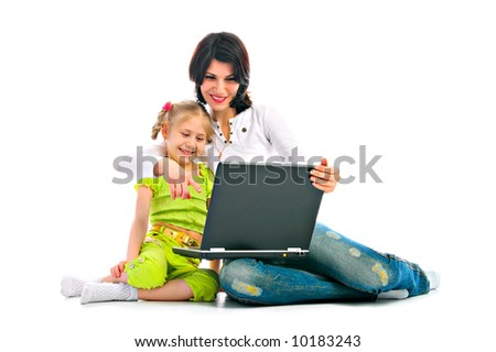 ma and daughter with laptop on white background - stock photo