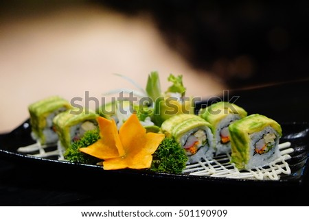 Ma-ki roll, avocado roll includes salmon and avocado with mayonnaise, Japanese food served at Japanese restaurant in Vietnam, ma-ki, sushi of salmon and avocado
