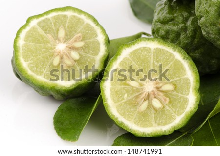 Ma-krut or Kaffir lime or leech lime or Mauritius Papeda or Bergamot. (Citrus hystrix DC.) Rutaceae. - stock photo