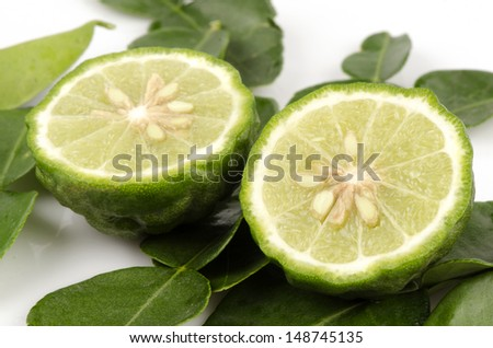 Ma-krut or Kaffir lime or leech lime or Mauritius Papeda or Bergamot. (Citrus hystrix DC.) Rutaceae  - stock photo