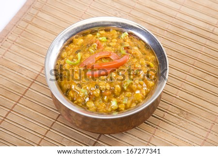 Maa Chole Ki Dal or Yellow Gram & Split Black Lentils Curry, Indian Food - stock photo