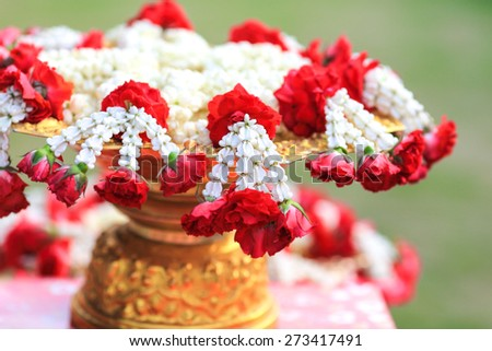 Maalai The flower in Thai Traditional Style for songkran festival - stock photo