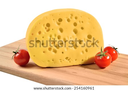 Maasdam cheese with large holes. Isolated on white background. - stock photo