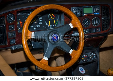 MAASTRICHT, NETHERLANDS - JANUARY 15, 2016: Cabin of entry-level luxury car Saab 900 Turbo convertible. International Exhibition InterClassics & Topmobiel 2016