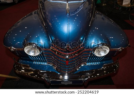 MAASTRICHT, NETHERLANDS - JANUARY 08, 2015: Full-size car Oldsmobile 98 De Luxe, 1941. International Exhibition InterClassics & Topmobiel 2015