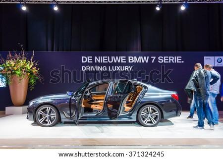 MAASTRICHT, NETHERLANDS - JANUARY 14, 2016: Full-size luxury car BMW 750i xDrive Sedan. International Exhibition InterClassics & Topmobiel 2016 - stock photo