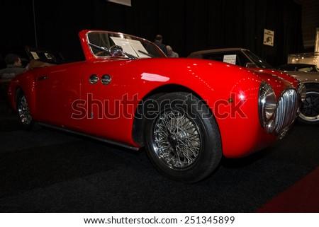 MAASTRICHT, NETHERLANDS - JANUARY 08, 2015: Italian car Cisitalia 202SC Cabriolet, 1951. International Exhibition InterClassics & Topmobiel 2015 - stock photo