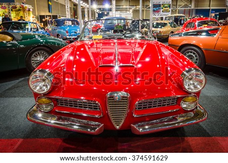 MAASTRICHT, NETHERLANDS - JANUARY 15, 2016: Luxury car Alfa Romeo 2000 Spider Touring, 1961. International Exhibition InterClassics & Topmobiel 2016