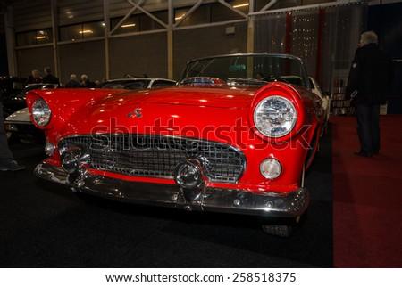MAASTRICHT, NETHERLANDS - JANUARY 09, 2015: Personal luxury car Ford Thunderbird (first generation), 1955. International Exhibition InterClassics & Topmobiel 2015 - stock photo