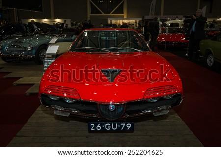 MAASTRICHT, NETHERLANDS - JANUARY 08, 2015: Sports car Alfa Romeo Montreal. International Exhibition InterClassics & Topmobiel 2015 - stock photo
