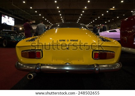 "MAASTRICHT, NETHERLANDS - JANUARY 08, 2015: Sports car Renault Alpine A110 ""Berlinette"". Rear view. International Exhibition InterClassics & Topmobiel 2015 - stock photo"