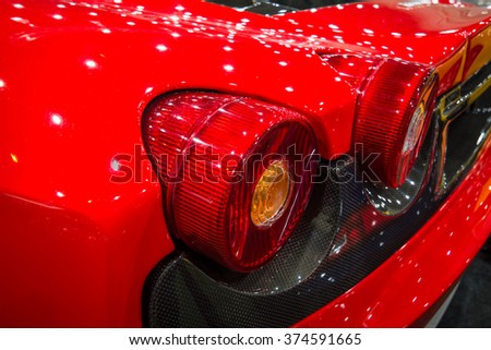 MAASTRICHT, NETHERLANDS - JANUARY 15, 2016: Stoplight of a sports car Ferrari F430, close-up, 2006. International Exhibition InterClassics & Topmobiel 2016 - stock photo