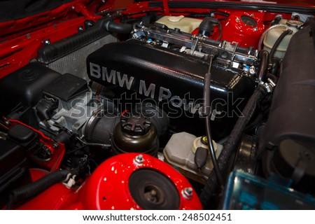 MAASTRICHT, NETHERLANDS - JANUARY 08, 2015: The engine sports car BMW M3 (E30). International Exhibition InterClassics & Topmobiel 2015 - stock photo