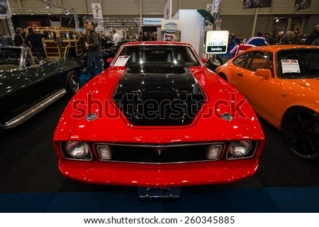 MAASTRICHT, NETHERLANDS - JANUARY 09, 2015: The muscle car Ford Mustang Mach 1, 1973. International Exhibition InterClassics & Topmobiel 2015 - stock photo