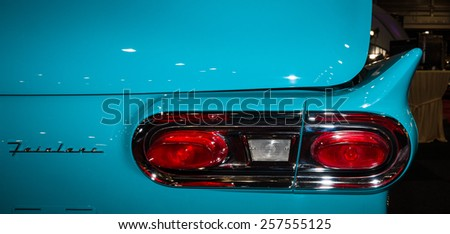 MAASTRICHT, NETHERLANDS - JANUARY 09, 2015: The stop lamp of a full-size car Ford Fairlane 500 Skyliner, 1959. International Exhibition InterClassics & Topmobiel 2015 - stock photo
