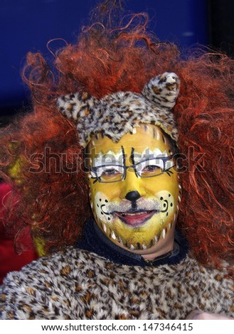 MAASTRICHT, THE NETHERLANDS - FEBRUARY 26: Unidentified people in the Carnival parade on February 26, 2006 in Maastricht, The Netherlands. This parade is organized yearly with about 100,000 visitors. - stock photo