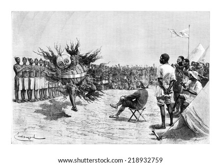 Mabandan Dancer from Burundi, in Eastern Africa, drawing by Bayard based on the English edition, vintage illustration. Le Tour du Monde, Travel Journal, 1881 - stock photo