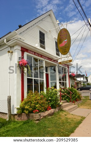 MABOU, CANADA - JUL 30: Red Shoe Pub is a pub/restaurant owned by The Rankin Family that celebrates Celtic music and culture in a living Gaelic speaking community.  July 30, 2014 in Mabou, Nova Scotia - stock photo
