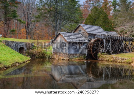 Mabry Mill a restored gristmill on the Blue Ridge Parkway in Virginia - stock photo