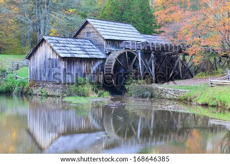 Mabry Mill in Autumn colors - Blue Ridge Parkway, Virginia - United States - stock photo