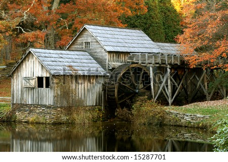 Mabry Mill, Meadows of Dan, Virginia, Close Up Horizontal in Autumn - stock photo