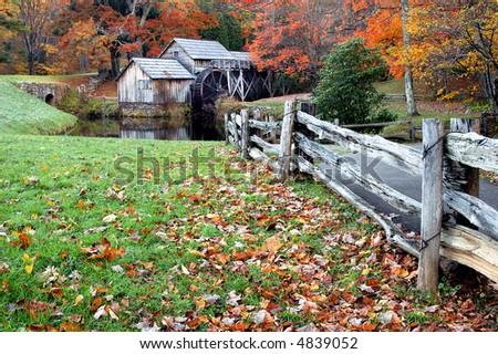 Mabry Mill, Meadows of Dan, Virginia in Autumn Horizontal - stock photo