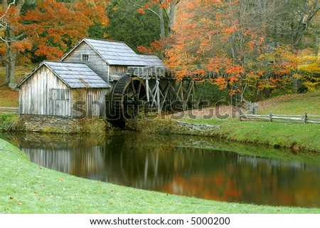 Mabry Mill, Meadows of Dan, Virginia in Autumn Horizontal - stock photo
