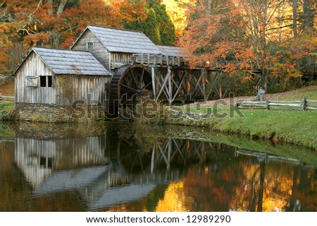 Mabry Mill, Meadows of Dan, Virginia In Autumn with Reflection Horizontal - stock photo