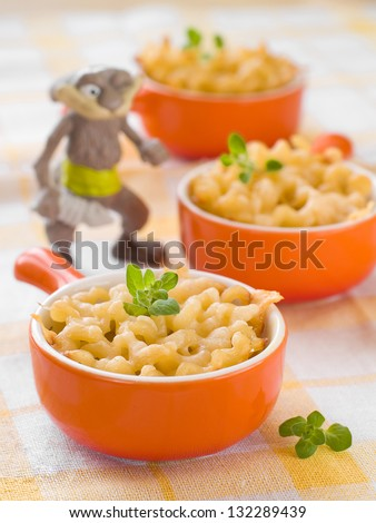 Mac and cheese, shot for a story on homemade, organic, healthy baby foods. Selective focus