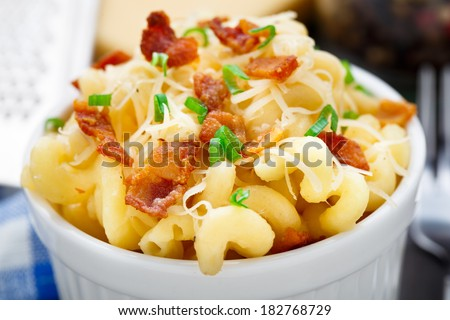 Mac and cheese with bacon - stock photo