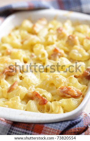 Mac cheese with chicken - stock photo