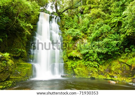 Mac Lean Falls in the Catlins of South New Zealand - stock photo