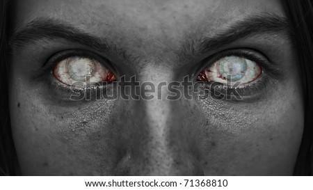 Macabre face with blind eyes. - stock photo