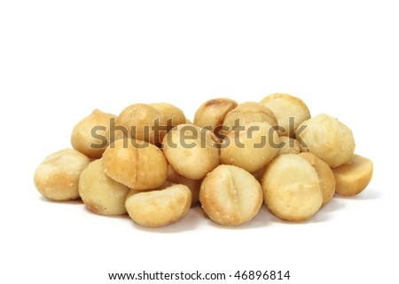 macadamia nuts isolated on a white background - stock photo