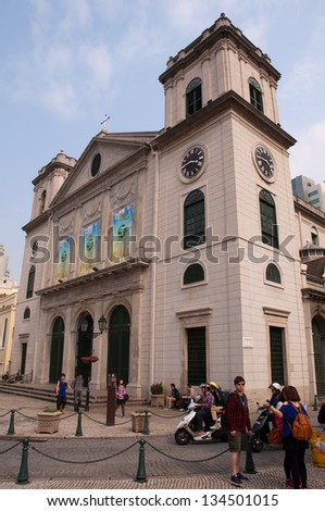 MACAO - APR 6 : Tourists visit the Cathedral church on April 6,2013 in Macao, China. The Cathedral church  was inscribed on the UNESCO World Heritage List in 2005.