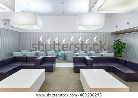 MACAO - FEBRUARY 17, 2016: inside of Air Macau lounge. Air Macau Company Limited is the flag carrier airline of and headquartered in Macau. - stock photo