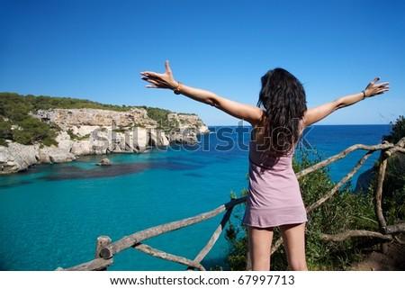 Macarella beach at Menorca island in Spain - stock photo