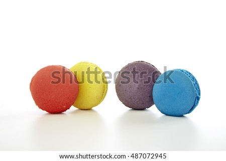 macaron past, blue pink yellow purple on white background