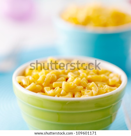 Macaroni and cheese closeup - kids food - stock photo