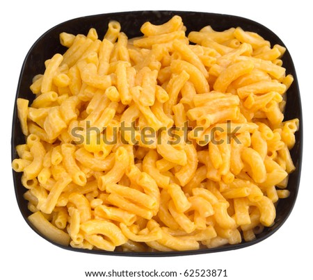 macaroni and cheese dinner on a yellow plate isolated over white - stock photo