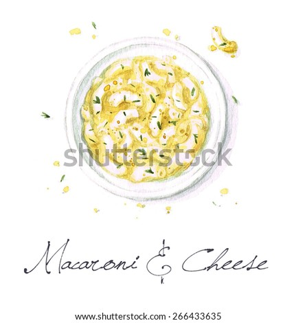 Macaroni and Cheese - Watercolor Food Collection - stock photo