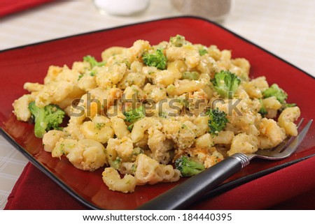 Macaroni and cheese with broccoli on a plate - stock photo